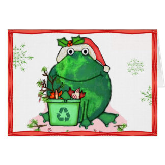 Green Environment Christmas Santa Frog Card