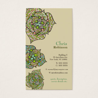 Green Environment Floral Neutral Business Card