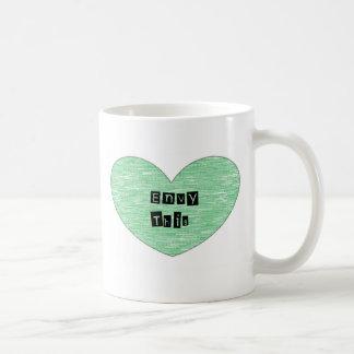 Green Envy This Heart Basic White Mug