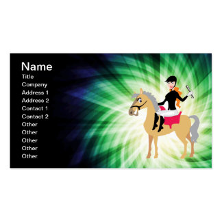 Green Equestrian Girl Business Card Templates