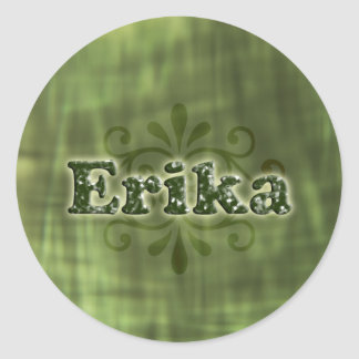 Green Erika Round Sticker
