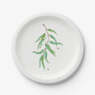 Green Eucalyptus Botanical Leaves Rustic Wedding Paper Plate