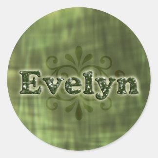 Green Evelyn Round Sticker