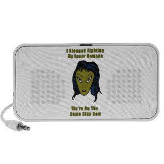 Green Evil Alien Woman Same Side Now iPod Speakers