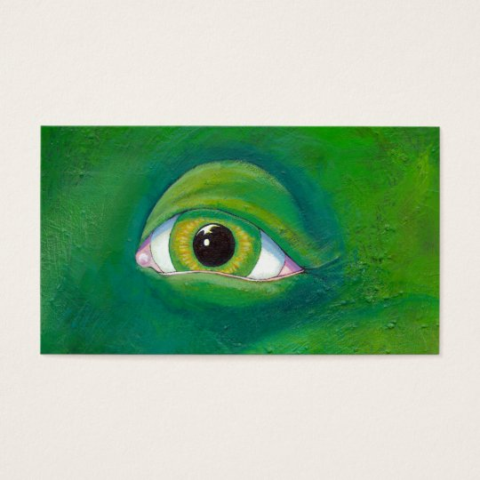 Green eye dinosaur frog lizard ogre painting art