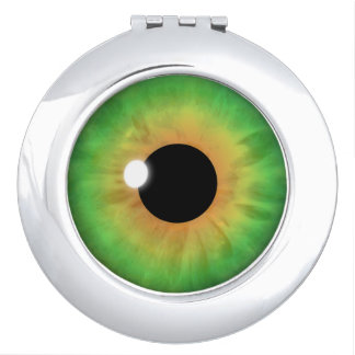 Green Eye Iris Cool Eyeball Round Compact Mirrors