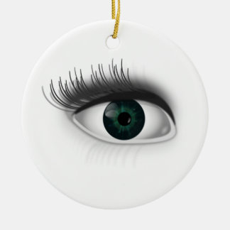 Green eye. round ceramic decoration