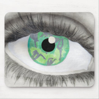 Green Eye With Dancer Silhouettes in Iris Mouse Mat