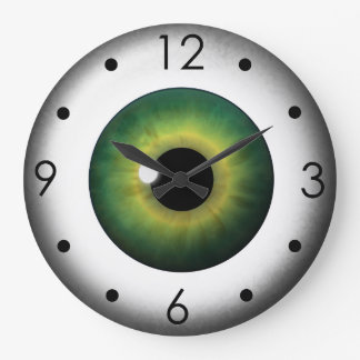 Green Eyeball Iris Eye Custom Large Round Clock