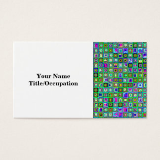 Green 'Eyeballs' Psychedelic Retro Tiles Pattern Business Card