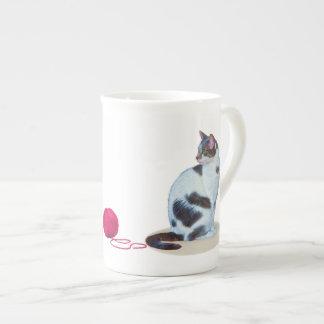 Green-eyed Black and White Cat  Speciality Mug Bone China Mug