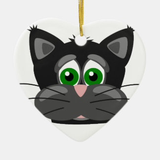 Green-eyed black Cat Christmas Ornament