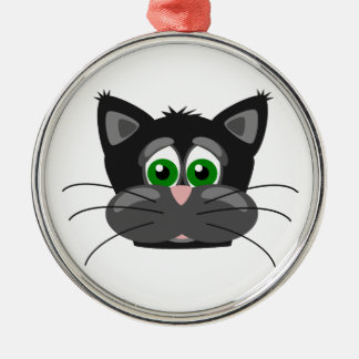 Green-eyed black Cat Christmas Ornament