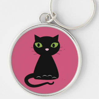 Green-Eyed Black Cat Silver-Colored Round Key Ring