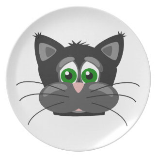 Green-eyed black Cat Plate