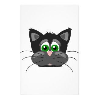 Green-eyed black Cat Stationery