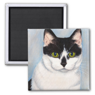 Green-Eyed Black & White Cat Painting Square Magnet