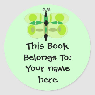 Green Eyed Butterfly, Book Plates Round Sticker