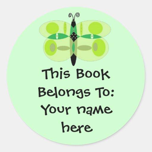 Green Eyed Butterfly, Book Plates Sticker