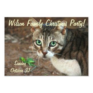 Green Eyed Cat 9 Cm X 13 Cm Invitation Card