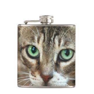 Green Eyed Cat Hip Flask