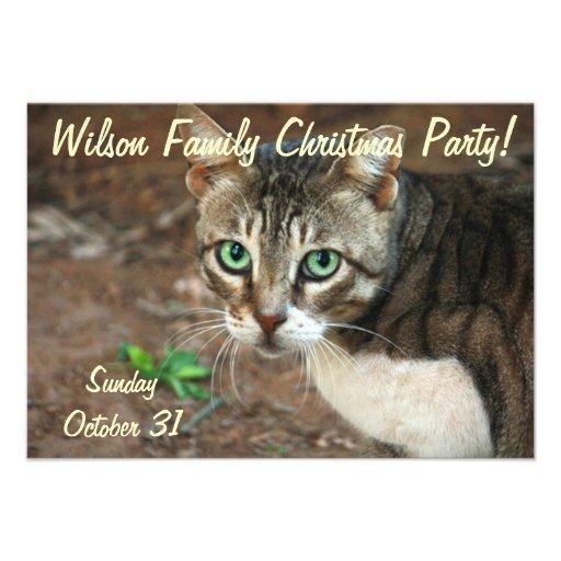 Green Eyed Cat Invite