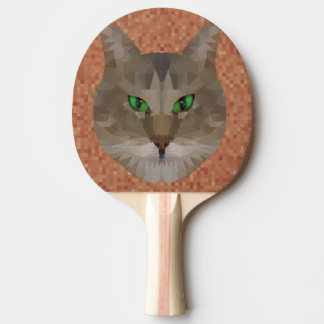 Green Eyed Cat Polygon Triangles Picture, Ping Pong Paddle
