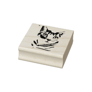 Green Eyed Cat Rubber Stamp