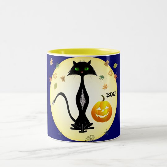 Green-eyed Cat With Pumpkin, Mugs