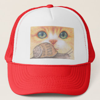 Green eyed ginger cat and snail Cap