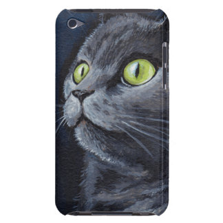 Green Eyed Grey Cat Painting iPod Touch Cover