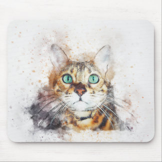 Green Eyed Kitty Portrait | Abstract | Watercolor Mouse Mat