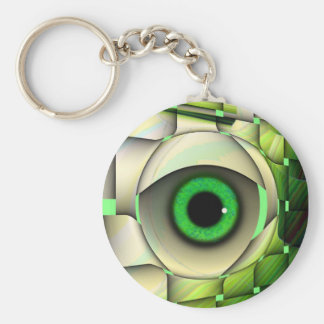 Green Eyed Monster Basic Round Button Key Ring