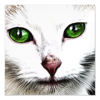 green eyed white cat Magnetic Card Magnetic Invitations