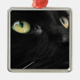 Green Eyes - Black Cat Silver-Colored Square Decoration