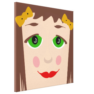 Green Eyes Brown Hair Girl Face Cute Pop Art Canvas Prints