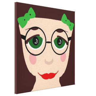 Green Eyes Brown Hair Girl Face Glasses Pop Art Canvas Prints