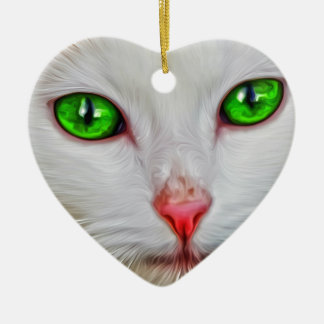 Green Eyes Cat Ceramic Heart Decoration