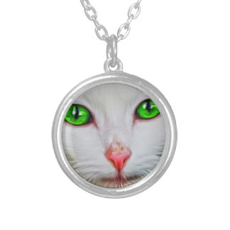 Green Eyes Cat Silver Plated Necklace