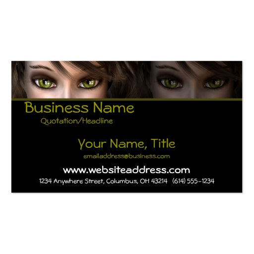 Green Eyes D1 - Fantasy Business Cards