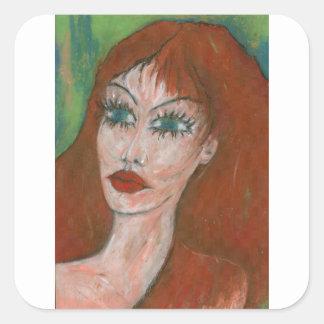 Green Eyes I Square Sticker