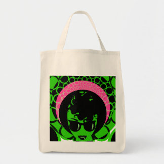 Green Face Pink Scarf Afro Tote Bag