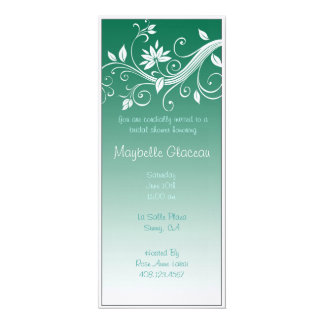 Green Fade Flower Bridal Shower Personalized Invitation
