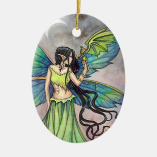 Green Fairy and Dragon Fantasy Art Christmas Ornament