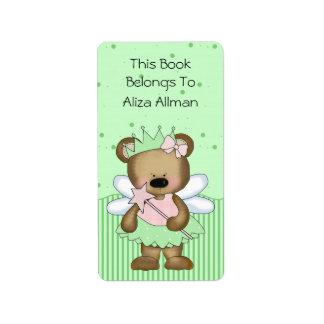 Green Fairy Bear Bookplate Label Address Label