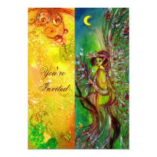 GREEN FAIRY yellow blue red silver 13 Cm X 18 Cm Invitation Card