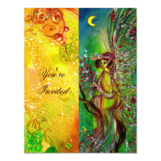 GREEN FAIRY yellow blue red silver 11 Cm X 14 Cm Invitation Card