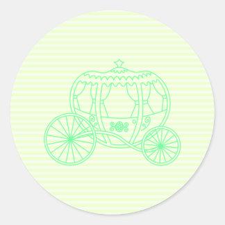 Green Fairytale Carriage Round Sticker