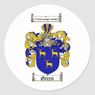 GREEN FAMILY CREST -  GREEN COAT OF ARMS ROUND STICKER