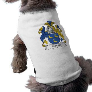 Green Family Crest Sleeveless Dog Shirt